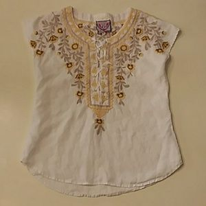 Johnny was xs yellow floral embroidered top